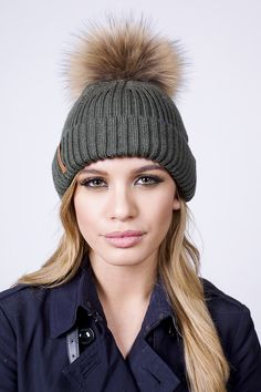 Fur Pom Pom Bobble Hat with Real Fur in Khaki Green
