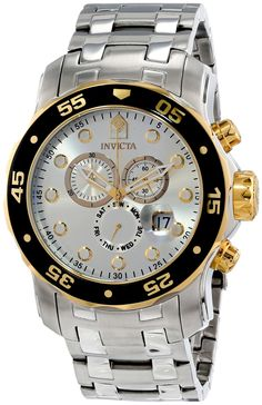 Invicta Mens Pro Diver Scuba Swiss Chronograph Silver Dial Stainless Steel Bracelet Watch 80040. Round watch accented with 18k gold plating featuring unidirectional bezel, magnified date window, and 30-minute/60-second/day subdials. 49-mm stainless steel case with synthetic-sapphire dial window. Swiss quartz movement with analog display. Stainless steel link bracelet with fold-over-clasp and safety closure. Water resistant to 200 m (660 ft): In general, suitable for professional marine...