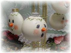 hand painted christmas ornaments by Judy Mullins
