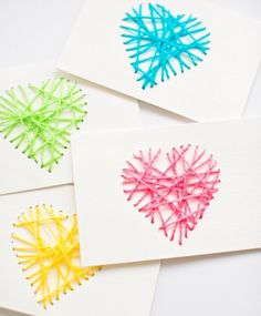 One of our most popular Valentine crafts from last year. These string heart yarn cards are fun for kids to make and great for threading/fine motor skills!  by hellowonderful_co