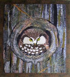 Barbara Strobel Lardon Art quilts:  Boreal Owl