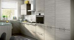 Magnet Kitchen. The Fantasy Grey kitchen is simply styled design with a unique textured finish #affordable #kitchen #grey