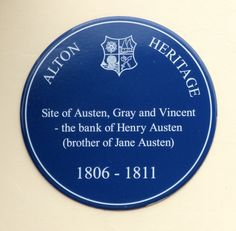Blue plaque outside site of Henry Austen's bank in the High Street, Alton, Hampshire