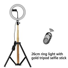 Lightweight and portable des Black Camera fill light 10.2 inch 26cm USB 3 Modes Dimmable Dual Color Temperature LED Curved Diffuse Light Ring Vlogging Selfie Photography Video Lights with Phone Clamp