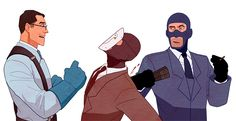 """writingcyan: """" """" By """" Continuation of this: Looks like RED Spy's plan backfired! I imagine Medic (and his bonesaw) might have something to say about BLU. Team Fortess 2, Meet The Team, Team Fortress 2 Medic, Tf2 Memes, Nerd Geek, Anime Comics, Teamwork, Overwatch, Video Games"""