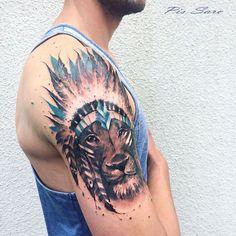 Native american lion half sleeve tattoo idea