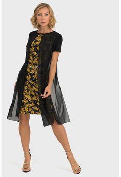 Joseph Ribkoff Black/Gold Filigree Pattern Sheer Overlay Dress 193698 NEW Navy Floral Dress, Boho Dress, Remove Black Mold, Sheer Overlay Dress, Baroque Dress, Joseph Ribkoff Dresses, Chiffon, Dress Patterns, New Dress