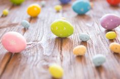 easter eggs on a rustic wooden table easter holiday concept