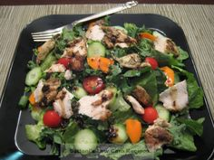 The light and delicious salad shown above makes a complete meal.  I've eaten it both for lunch of dinner.   It's one of my favorite ways sto use 1-2 pieces of leftover grilled chicken if that doesn...