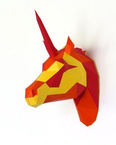 DIY Papercraft Unicorn Sculpture Pre-cut papercraft kit   Etsy Unicorn Head, Paper Glue, Sculptures, Kit, Unique Jewelry, Handmade Gifts, Inspiration, Etsy, Collection