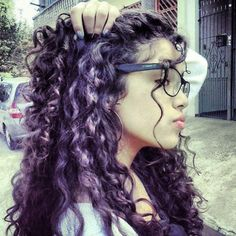 Image result for curly hair with coloured streaks