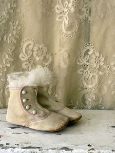 Vintage shoes and lace ~ Neutrals, Cream