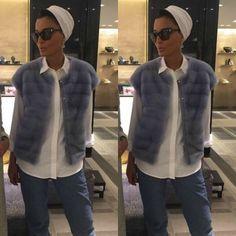 SheikhaMozahFashion : Photo Fur, vest, jeans, scarf