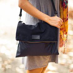 Black cotton crossbody bag RAY BLACK