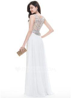 Vestido tubo Escote redondo Hasta el suelo Con lentejuelas Vestido de baile de promoción con Cuentas Cascada de volantes (018113755)