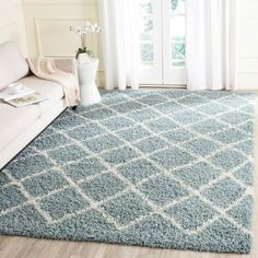 Safavieh Dallas Shag Light Blue/ Ivory Trellis Rug - x x - Seafoam/Ivory), Green (Polypropylene, Geometric) Zipcode Design, Blue Rug, Trellis Rug, Contemporary Decor, Home Decor, Rugs, Sea Foam, Colorful Rugs, Area Rugs