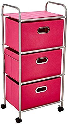 Amazon.com: Honey-Can-Do CRT-02348 Fabric Rolling Cart with 3 Drawers, Pink: Home & Kitchen