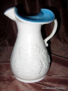 VINTAGE KANAWHA MILK GLASS AND BLUE PITCHER