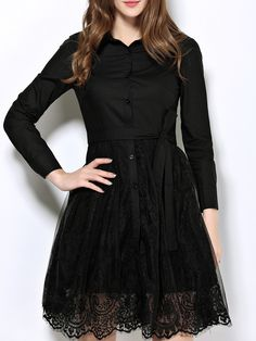 Shop Black Lapel Tie-Waist Contrast Gauze Lace Dress online. SheIn offers Black Lapel Tie-Waist Contrast Gauze Lace Dress & more to fit your fashionable needs.