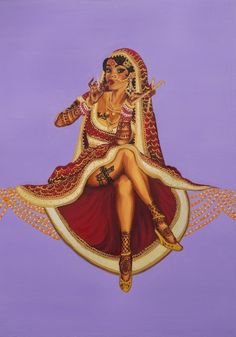 """Not only are Nimisha's paintings wonderfully detailed and powerful but even their titles are ON POINT, like this one called """"Not Your Mom's Bahu"""". This Pinup Series Portrays Indian Women (Accurately) As Sexually Liberated Badasses Woman Painting, Artist Painting, Indian Illustration, Indian Aesthetic, Book Aesthetic, Indian Art Paintings, Indian Women Painting, Indian Artwork, Indian Artist"""