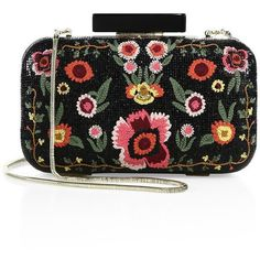 Alice and Olivia Large Bohemian Embroidered Leather Clutch (1.875 RON) ❤ liked on Polyvore featuring bags, handbags, clutches, apparel & accessories, boho handbags, boho purses, embroidery purse, real leather purses and real leather handbags