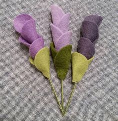 Small flower stem party favor shower favor wool felt flower