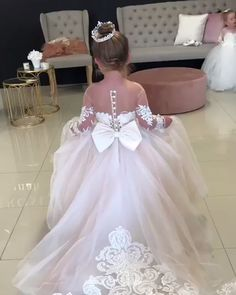 Flower girl dresses tulle - Ball Gown Round Neck Light Champagne Tulle Flower Girl Dress with Appliques – Flower girl dresses tulle Blush Flower Girl Dresses, Tulle Flower Girl, Princess Flower Girl Dresses, Tulle Flowers, Baby Girl Wedding Dress, Wedding Dresses For Kids, Wedding Dress Trends, Dresses Kids Girl, Little Girl Gowns