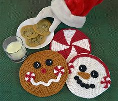Crochet Kitchen, Crochet Home, Crochet Gifts, Free Crochet, Crochet Coaster, Crochet Potholders, Crochet Stocking, Christmas Crochet Patterns, Holiday Crochet