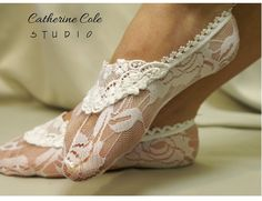 Lace socks for heels white