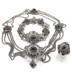 Bohemian Garnet & 835 Silver Jewelry Set  от VintageArtAndCraft