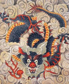 Minwha(Korean Folk art)-Blue dragon by kimsingu on DeviantArt Korean Dragon, Chinese Dragon Art, Chinese Art, Traditional Paintings, Traditional Art, Deco Orange, Art Blue, Korean Painting, Chinese Patterns