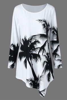 $15.00 Plus Size Palm Print Asymmetrical T-Shirt - White And Black