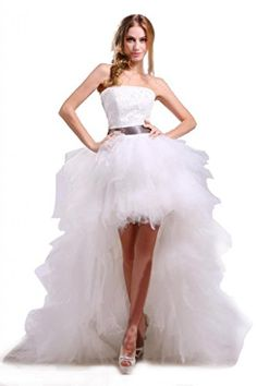 Ikerenwedding Womens Strapless High Low Layer Tulle Beach Wedding Dress White US26W ** You can get additional details at the image link.(This is an Amazon affiliate link and I receive a commission for the sales)