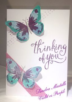 Sandra Mastello : Violet vs Purple : Watercolour Wings : Stampin' Up : #gdp039 : Butterfly : Thinking of You