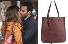 Fifty Shades Darker: Ana's dark red maroon leather tote bag #fsd #fiftyshadesdarker #50shades