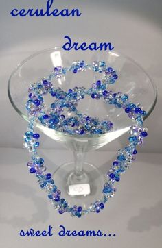 CERULEAN DREAM: $19.99..royal, aqua blues, lavender with pale blue twine. INTERCHANGEABLE JEWELRY CHAINS that becomes a: lanyard, necklace, choker, belt, or eyeglass chain. Includes gift packs with all connector pieces needed.