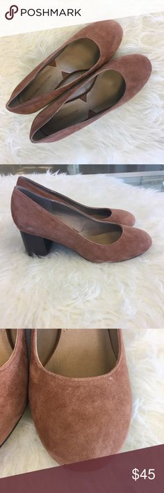 Adrienne Vittadini Heels! Worn once (outside, why the bottoms are dirty) and in wonderful condition. Cozy soles & the perfect heel height for walking. Spots pictured were present when purchased new. Adrienne Vittadini Shoes Heels