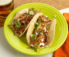 A cold make ahead taco. One reviewer says he makes the brisket in the crock pot. Shredded Brisket Tacos with Chipotle Dressing