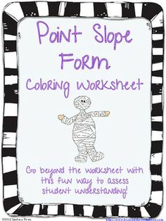 Writing Equations in Point Slope Form Coloring Worksheet $1.50