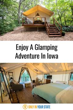 Upgrade from camping to glamping in this luxury Iowa tent surrounded by nature. In addition to the beautiful forest, you'll find amenities like a mini fridge, heat and air conditioning, a coffee maker, comfy bed, and more. Tent Camping, Glamping, Abandoned Prisons, Luxury Tents, Composting Toilet, Hidden Beach, Beautiful Forest, Comfy Bed, Mini Fridge