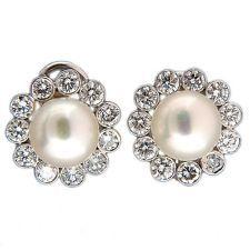 Vintage 9.5mm Fine Japanese Cultured Pearl 2.20ct 18k Gold Diamond Earrings