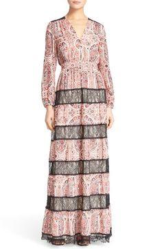 Alice + Olivia 'Daren' V-Neck Lace Stripe Maxi Dress available at #Nordstrom