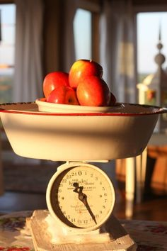 apples on an old scale