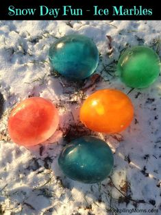 Snow Day Fun -  How to make ice marbles