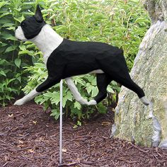 Boston Terrier Wood Carved Dog Figure Yard Garden Stake. Home Decor Dog Products