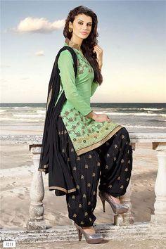 Light Green and Black Salwar Kameez.