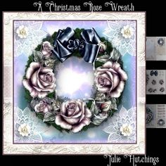 The Christmas Rose Wreath Card Front Kit by Julie Hutchings Beautiful card front Kit that has 3 sheets to print,cut and assemble to make a…