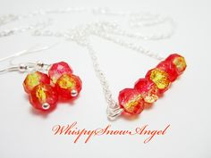 Necklace and Earring Set Rondelle Necklace Fire Red and Yellow Rondelles Gift Set for Her Silver Plate Chain 24 Inch by WhispySnowAngel on Etsy