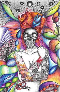 Dibujo a tinta y plumones de color. Me encanta el color!!!