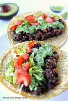 Black Bean Tacos with Avocado Cilantro-Lime Sauce - so simple, fresh, and delicious!